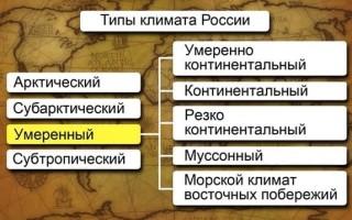 Климатические зоны России