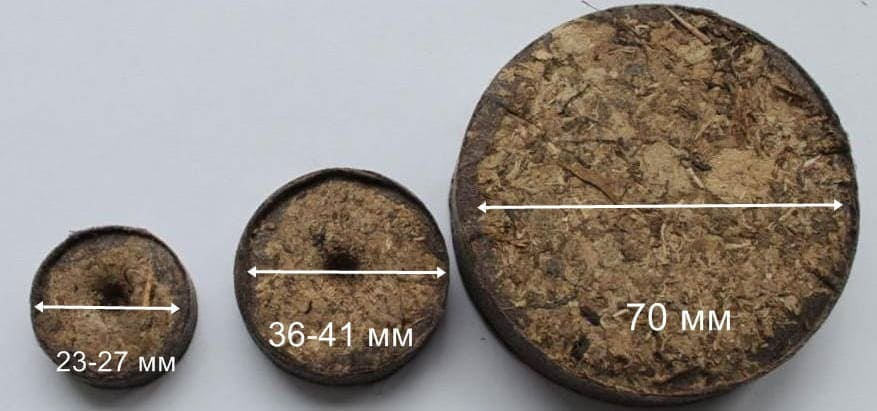 торф размер таблеток